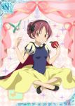 1girl alternate_costume alternate_hairstyle apple bird cape food fruit mahou_shoujo_madoka_magica no_socks official_art puff_and_slash_sleeves puffy_sleeves sakura_kyouko short_sleeves sitting snow_white_(cosplay) snow_white_(disney)_(cosplay) trading_cards