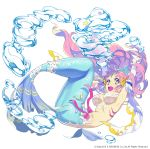 1girl air_bubble breasts bubble floating_hair full_body gem gloves happy long_gloves long_hair looking_at_viewer mansu mermaid monster_girl official_art open_mouth original pink_hair ribbon simple_background solo star underwater white_background yellow_eyes