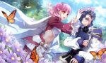 1boy 1girl :d absurdres blue_hair blush book butterfly dutch_angle embarrassed est_rinaudo facial_tattoo flower green_eyes hair_flower hair_ornament happy highres holding holding_book lulu_(wand_of_fortune) navel open_mouth pantyhose pink_hair short_hair sleeves_past_wrists smile tattoo usuba_kagerou wand_of_fortune