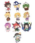 6+girls akiyoku ascot blush bowl braid brown_eyes bucket cape chibi green_eyes hair_tubes hakurei_reimu hat highres hoshiguma_yuugi kaenbyou_rin kirisame_marisa kisume komeiji_koishi komeiji_satori kurodani_yamame long_hair long_sleeves mizuhashi_parsee multiple_girls pink_eyes pink_hair pointy_ears puffy_sleeves red_eyes reiuji_utsuho short_hair short_sleeves short_twintails slippers subterranean_animism third_eye touhou twintails wheelbarrow wings witch_hat