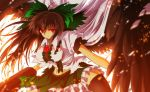 1girl ahoge angel_wings arm_cannon black_hair black_legwear black_wings bow breasts cape glowing glowing_eyes hair_bow large_breasts long_hair looking_at_viewer midriff navel nekominase open_mouth red_eyes reiuji_utsuho skirt solo thigh-highs third_eye torn_clothes touhou weapon wings
