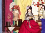 1girl 2015 artist_name bangs black_eyes black_hair boots_removed bottle chinese_knot copyright_request doily fabric feathers floral_print hair_ornament hanbok hat hat_feather hat_removed hat_ribbon headwear_removed holding holding_shoes indoors korean_clothes leaf light_smile long_sleeves looking_at_viewer mannequin maple_leaf nayoung_wooh ornament perfume_bottle pink_ribbon ribbon shoes shoes_removed silk_sheet table tassel top_hat tree_branch vase vertical_stripes watermark web_address window