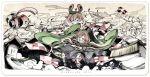 2girls animal_ears asakura_masatoki brown_eyes cape chouchin_obake futatsuiwa_mamizou glasses hat hat_ribbon highres japanese_clothes leaf leaf_on_head multiple_girls raccoon_ears ribbon scarf touhou usami_sumireko wide_sleeves