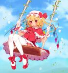 1girl absurdres blonde_hair blush bow capelet dress flandre_scarlet flower gloves hat hat_bow high_heels highres looking_at_another misoni_comi mob_cap red_eyes solo swing thigh-highs touhou vines white_gloves white_legwear wings