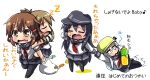4girls akatsuki_(kantai_collection) anchor bag black_legwear brown_eyes brown_hair carrot carrying closed_eyes commentary_request crying dragging drooling fang flat_cap hat hibiki_(kantai_collection) ikazuchi_(kantai_collection) inazuma_(kantai_collection) kantai_collection long_hair lying multiple_girls neckerchief open_mouth oshiruko_(uminekotei) peeing peeing_self piggyback pot_on_head purple_hair school_uniform serafuku shopping_bag short_hair silver_hair skirt sleeping spring_onion tears translation_request wiping_tears