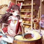1girl album_cover apron ascot blush bow breasts brown_hair cheese_wheel commentary_request cover detached_sleeves hair_bow hair_tubes hakurei_reimu indoors instrument knees_together_feet_apart licking_lips long_hair looking_at_viewer miyase_mahiro musical_note one_eye_closed red_eyes ribbon-trimmed_sleeves ribbon_trim saxophone shelf smile solo staff_(music) stirring tongue tongue_out touhou treble_clef
