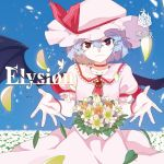 1girl album_cover bat_wings cover dress flower looking_at_viewer mob_cap petals red_eyes remilia_scarlet ribbon slit_pupils touhou white_dress wings