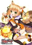 1girl :3 animal_ears blonde_hair breasts elbow_gloves fang fox_ears fox_tail garter_straps gloves green_eyes heart heart-shaped_pupils jack-o'-lantern long_hair multicolored_hair multiple_tails mvv original single_glove small_breasts solo symbol-shaped_pupils tail thigh-highs two-tone_hair under_boob