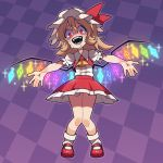 1girl @_@ ascot blonde_hair bow checkered checkered_background commentary_request constricted_pupils flandre_scarlet hat highres mary_janes mob_cap nappooz open_mouth outstretched_arms purple_background red_eyes ribbon shoes side_ponytail solo sparkle spread_arms tears touhou wings