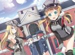 4girls bare_shoulders bismarck_(kantai_collection) blonde_hair blue_eyes breasts brown_eyes brown_hair clothes_writing detached_sleeves dutch_angle gloves hair_ornament hat hyuuga_azuri kantai_collection lens_flare long_hair looking_at_viewer military military_hat military_uniform multiple_girls peaked_cap prinz_eugen_(kantai_collection) sailor_hat short_hair silver_hair smile twintails uniform z1_leberecht_maass_(kantai_collection) z3_max_schultz_(kantai_collection)