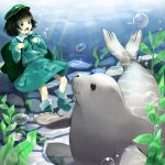 1girl air_bubble backpack bag black_hair boots crab dark_haired_kappa flat_cap green_eyes hat highres kappa_mob light_rays long_sleeves looking_down open_mouth piyodesu ribbon rock rubber_boots seal seaweed short_hair skirt skirt_set solo sunbeam sunlight touhou underwater wild_and_horned_hermit