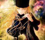 1girl auge_(akd) blonde_hair brown_eyes fur_coat fur_hat ginga_tetsudou_999 hat highres long_hair maetel solo space very_long_hair