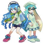 >:d 2girls :d akita_(publisher) akiyoku blue_eyes blush diomedea dress hat headphones human ikamusume ikamusume_(cosplay) inkling inkling_(cosplay) look-alike nintendo nintendo_ead open_mouth shinryaku!_ikamusume shoes short_sleeves shorts smile splatoon squid_girl t-shirt tennis_shoes tentacle_hair tentacles trait_connection tv_tokyo