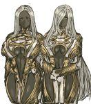2girls breasts center_opening grey_skin hair_over_one_eye highres huge_breasts long_hair multiple_girls nameo_(judgemasterkou) original silver_hair smile under_boob