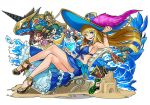 3boys 3girls :d anne_&_mary_(p&d) awilda_(p&d) bartholomew_(p&d) beach bikini blackbeard_(p&d) blonde_hair blue_bikini blue_eyes breasts captain_kidd_(p&d) chibi cleavage dragon hat high_heels hino_shinnosuke large_breasts long_hair multiple_boys multiple_girls open_mouth pirate_hat puzzle_&_dragons sand_castle sand_sculpture simple_background sitting smile solo solo_focus star surfboard swimsuit tamadra water waves white_background