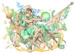 1girl bangs banner bare_shoulders blonde_hair blue_eyes boots breasts china_dress chinese_clothes dress elbow_gloves fingerless_gloves full_body gloves hair_between_eyes headdress high_heel_boots high_heels holding holding_weapon horns long_hair polearm puzzle_&_dragons sakuya_(p&d) simple_background smile solo spear tail thigh-highs thigh_boots under_boob very_long_hair weapon white_background white_boots white_dress white_gloves white_legwear zutta
