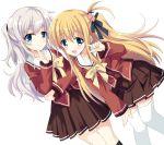 2girls blonde_hair blue_eyes charlotte_(anime) green_eyes highres hizuki_yayoi long_hair multiple_girls nishimori_yusa school_uniform serafuku side_ponytail silver_hair thigh-highs tomori_nao twintails two_side_up