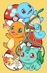 blue_eyes blush_stickers bulbasaur charmander fangs fire flower no_humans open_mouth poke_ball pokemon pokemon_(creature) red_eyes squirtle zrae