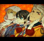 3boys black_hair blonde_hair blue_eyes blue_hair headdress hood horikawa_kunihiro male_focus multiple_boys ot-nm red_eyes smile touken_ranbu upper_body yamabushi_kunihiro yamanbagiri_kunihiro