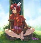 1boy blue_eyes cheine feathers fire_emblem fire_emblem:_monshou_no_nazo goma_(goma-folio) leaf redhead solo tree