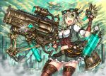 1girl fingerless_gloves gia gloves green_eyes gun navel original short_hair silver_hair solo steampunk thigh-highs weapon
