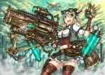 1girl fingerless_gloves gia gloves green_eyes gun navel original short_hair silver_hair solo steampunk thigh-highs weapon
