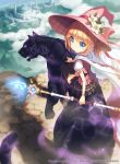 1girl blonde_hair blue_eyes cape crystal fangs flower glowing glowing_eyes hat highres kankurou long_hair looking_back magic original panther ponytail riding shirt sitting skirt staff thigh-highs weapon witch_hat