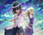 2girls blonde_hair blue_eyes bow brown_eyes brown_hair clouds dress essual_(layer_world) hair_bow hat long_hair maribel_hearn multiple_girls necktie one_eye_closed ribbon shirt short_hair skirt sky smile touhou usami_renko