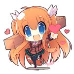 1girl blue_eyes brown_hair chibi long_hair ootori_chihaya remotaro rewrite school_uniform thigh-highs twintails wood