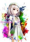 1girl blonde_hair brown_eyes hat highres missile228 original paint_splatter paint_stains paintbrush short_hair solo