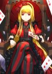 1girl alice_in_wonderland bangs blonde_hair blunt_bangs card chair crossed_legs dress frills hair_ornament hairband heart heart_hair_ornament holding long_hair looking_at_viewer pantyhose playing_card queen_of_hearts rec red red_eyes serious solo striped throne wrist_cuffs