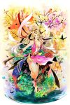 1girl animal arrow barefoot bird butterfly chain circlet fantasy fish flower fox highres long_hair looking_at_viewer original pheasant plant polearm rabbit saiga_tokihito weapon