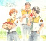 1girl 2boys basket black_hair closed_eyes copyright_name dated eating hand_in_pocket holding izumi_noa kidou_keisatsu_patlabor looking_back multiple_boys necktie open_mouth redhead shinohara_asuma short_hair smile tomato traditional_media uniform ususionorisio watch watch watercolor_(medium) yamazaki_hiromi