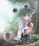 1girl blush boots brown_hair bucket kojiki-life long_hair mask miyauchi_renge non_non_biyori open_mouth purple_hair rain raincoat red_eyes solo squatting tree trowel twintails umbrella