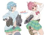 2girls beretta_92 blue_eyes blue_hair cardigan copyright_name dual_wielding goutokuji_kayo gun handgun holster looking_at_viewer looking_back mac-11 miniskirt multiple_girls open_mouth pink_hair pizza_man plaid plaid_skirt pleated_skirt pointing pointing_at_viewer red_eyes sabagebu! school_uniform short_hair short_ponytail skirt sleeves_rolled_up smile sonokawa_momoka submachine_gun thigh-highs thigh_holster translated trigger_discipline weapon white_background zettai_ryouiki