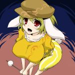 1girl animal_ears beret blonde_hair breasts bunny_tail collarbone dango fang food from_above hat large_breasts legacy_of_lunatic_kingdom oro_(zetsubou_girl) rabbit_ears red_eyes ringo_(touhou) solo tail touhou wagashi