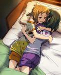 2girls bed bed_sheet blush bunk_bed kohinata_miku multiple_girls pillow senki_zesshou_symphogear short_hair smile tachibana_hibiki_(symphogear) tsuta_no_ha yuri