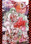 ascot blood breasts chihiro_(kemonomichi) closed_umbrella crossed_legs flower green_hair high_heels highres huge_filesize kazami_yuuka kazami_yuuka_(pc-98) large_breasts long_hair parasol plaid_pants plaid_vest red_eyes shoes sitting skull touhou touhou_(pc-98) umbrella