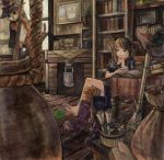 barefoot between_toes book bookshelf boots brown_eyes brown_hair cape cat fantasy feet flask hat highres magic nail_polish one_thighhigh original pen pot room rope salamander_(artist) scroll single_shoe single_thighhigh striped striped_legwear striped_thighhighs thigh-highs thighhighs toenail_polish toes witch witch_hat writing