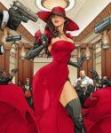abs brown_hair carmen_sandiego cleavage dress gloves gun hat surrounded thigh-highs veil