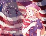 1girl american_flag blonde_hair clownpiece hand_over_heart hat legacy_of_lunatic_kingdom orz_(kagewaka) solo tears touhou zoom_layer