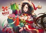 1girl 2014 black_hair box breasts character_request christmas cleavage detached_collar detached_sleeves gift gift_box green_eyes hat lamier lips long_hair nose parted_lips santa_costume santa_hat smile solo wide_sleeves
