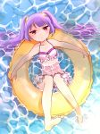 1girl bare_legs bikini breasts cleavage collarbone frilled_bikini frills from_above hair_ornament highres innertube long_hair partially_submerged pikomarie purple_hair puzzle_&_dragons red_eyes solo swimsuit twintails water yomi_(p&d)