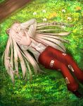 1girl cacao_devil flower fujiwara_no_mokou grass hair_ribbon hand_on_own_face long_hair looking_at_viewer orange_flower outstretched_hand pants red_eyes ribbon touhou white_flower white_hair