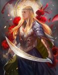 1boy armor blonde_hair breastplate circlet elf flower forehead_jewel gloves green_eyes long_hair long_skirt lord_of_the_rings nose pauldrons pointy_ears realistic skirt sword the_hobbit thranduil vambraces weapon yang_fan