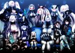 6+girls ;) ahoge aircraft_carrier_oni airfield_hime anchorage_oni armored_aircraft_carrier_oni battleship-symbiotic_hime bikini_top blue_eyes breasts claws cleavage covered_mouth crossed_legs destroyer_hime detached_sleeves dress ebi_(il14021) enemy_aircraft_(kantai_collection) glowing glowing_eyes gothic_lolita hairband headgear highres horn horns isolated_island_oni kantai_collection light_cruiser_oni lolita_fashion lolita_hairband long_hair looking_at_viewer machinery midway_hime mittens multiple_girls northern_ocean_hime one_eye_closed one_side_up ponytail red_eyes school_uniform seaport_hime serafuku shinkaisei-kan sitting smile southern_ocean_oni turret white_dress white_hair white_skin