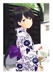 1girl black_hair fan highres houshou_(kantai_collection) japanese_clothes kantai_collection kimono long_hair paper_fan ponytail smile solo uchiwa wa_(genryusui)