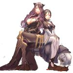 armor blood breasts brown_hair camilla_(fire_emblem_if) cleavage eyepatch fire_emblem fire_emblem_if hair_over_one_eye human_chair human_furniture kitsune_n long_hair my_unit_(fire_emblem_if) nosebleed purple_hair red_eyes violet_eyes white_hair zero_(fire_emblem_if)