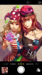 2girls american_flag_shirt arm_around_shoulder bangs black_shirt blonde_hair cellphone cellphone_camera clownpiece collar collarbone earth_(ornament) gold_chain gradient_eyes hat hecatia_lapislazuli highres legacy_of_lunatic_kingdom lips long_hair looking_at_viewer moon multicolored_eyes multicolored_skirt multiple_girls nose open_mouth phone photo_(object) red_eyes redhead shirt short_hair side-by-side smile sunyuqian teeth torch touhou violet_eyes