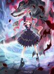 1girl arms_up blue_eyes detached_sleeves dress fangs highres horns kankurou long_hair magic magic_circle mary_janes monster original pink_hair scar shoes skull smile staff summoning twintails weapon wolf